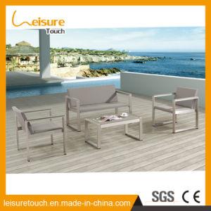Moderne Weinlese-Hotel-Ausgangshölzerne Patio-blaue Aluminiumsofa-gesetzte Plastikfreizeit-im Freiengarten-Möbel