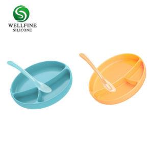 Non-Slip 흡입 컵 실리콘 아기 사발 유아 아기 실리콘 격판덮개