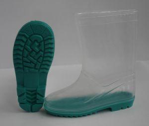 Transparentes Kids Botas de chuva de PVC, crianças transparente capa de chuva