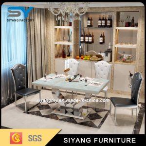 Mobília moderna sala de jantar em mármore mesa de jantar em aço inoxidável superior