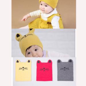 熱い秋の冬動物プリント綿の赤ん坊の帽子の女の子の男の子の幼児の子供小さい猫の帽子の美しいニットのかぎ針編み