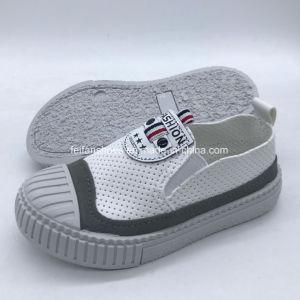 Los niños puntera superior PU zapatos casual zapatos para correr Hh0629-7