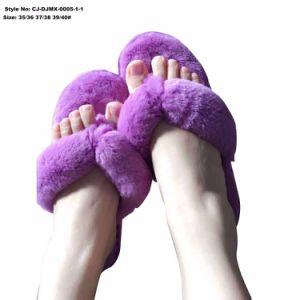 Suave e confortável de pelúcia antiderrapagem Faux Fur Flip-flop interior inverno para as mulheres da Sapata