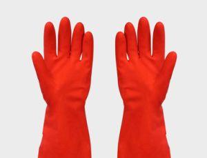 Handa hogar guante de látex, guantes de goma