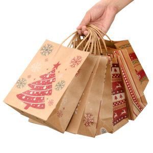 Finitions côtelées Xmas le style d'épaisseur du papier kraft sacs à poignées torsadées transporteur