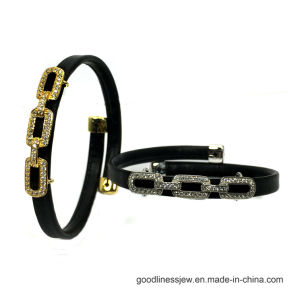 De Goedkopere Armband van de Juwelen van de manier met Zwart Leer Kleurrijk CZ 925 de Zilveren Juwelen van de Armband (BT6768)