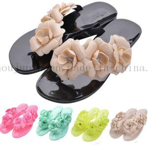 De façon personnalisée EVA fleur colorée Mesdames pantoufles Flip Flop