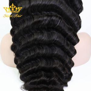 Naturel noir 100 % Remy Hair Glueless humaine de la Dentelle/Full Lace Wig pour organisme de droit d'onde Onde profonde Curly