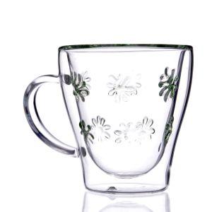 Borosilicat-freies doppel-wandiges Glastee-Cup mit Griff