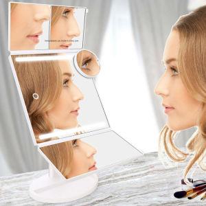 BSCI, Wca, Sqp, wal-Markt Verklaarde Fabriek, de Vergroting van de LEIDENE Spiegel van de Make-up/van de Spiegel 1X/2X/3X/10X van de Ijdelheid, de Spiegel van de Make-up van tri-Vouwen met 2 Lichte Staven