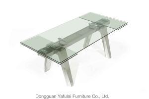 La moderna extensión Venta caliente de acero Cristal mesa de comedor para el hogar
