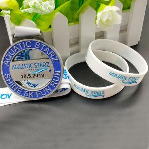 Custom Qualidade Sport corresponder a medalha de metal da Pulseira de silicone/bracelete de presente de promoção (WB28-C)