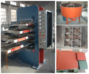 Coloured Rubber Tile Bricks를 위한 격판덮개 Vulcanizer Press