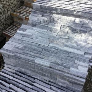 De marbre gris naturel de panneaux muraux de pierres empilées (SMC-SCP430)