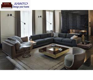 Sofá de couro moderno mobiliário Royal Sofá Definir sofá em frente e verso