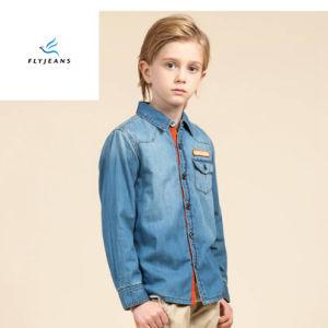 Fashionaleの簡単な男の子のはえのジーンズによる刺繍が付いている長い袖のデニムのワイシャツ