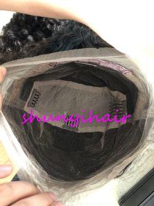 Qualidade superior de cabelo cor natural cheio de Ondas profundas Lace Peruca Pré Depenados preço grossista Swiss rendas