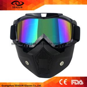 b085e1e2ded14 Homens Mulheres Moto Motocross Goggles Máscara modular Óculos removíveis e  filtro de boca para capacete modular de rosto aberto de motocicleta