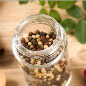 La alta calidad de vidrio redonda agitador Spice frasco con tapa de acero inoxidable