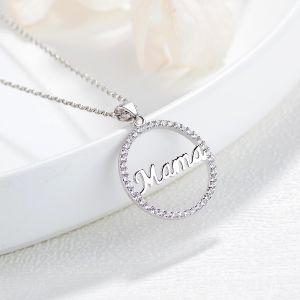 925 Joyas de Plata Esterlina forma redonda de la Mama colgante