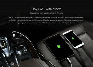 La carga rápida de doble puerto USB Cargador de coche estilo Metal- la plata