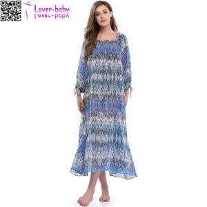 Les femmes de l'été Celeb Style Maxi à manchon long longue robe de plage TY1021