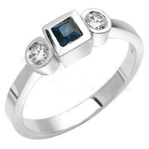 anello di oro bianco 18K con il diamante e la pietra preziosa (LRD1263)