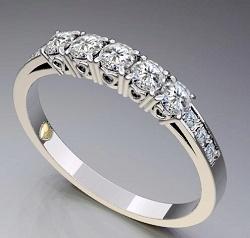 anello di oro bianco 10K con il diamante (LRG1162)