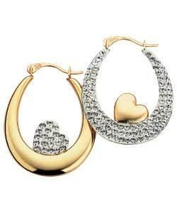 orecchino dell'oro giallo 10K con la pietra preziosa (LEG1121)