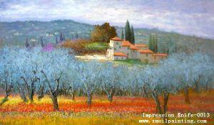 Pittura a olio impressionista della tela di canapa di paesaggio - 1