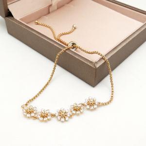 De elegante Regelbare Armband van de Steen van CZ van de Decoratie van de Vorm van de Bloem Goud Geplateerde voor Vrouwen