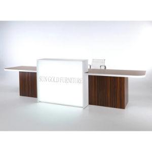 Moderner eleganter schwarzer Gloosy hölzerner Büro-Empfang-Schreibtisch (SZ-RT041)