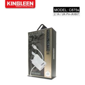 Великобритания Dual USB домашний переходную пробку блока дорожное зарядное устройство на стене 2.1A/5V с 3 футов быстрая зарядка кабель совместим с iPhone