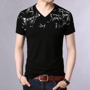 Os homens elegante' S V Pescoço Impresso Casual Shirt T Shirt de Lazer