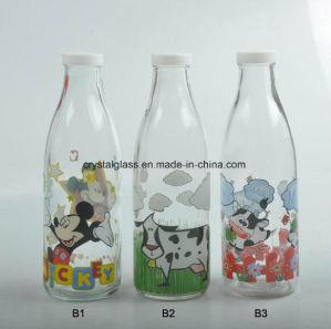 1L de leite de Impressão do adesivo Frasco de bebidas de vidro com tampa