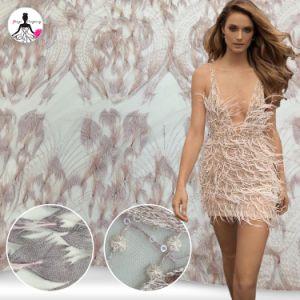 Luxuosa decoração de penas de tecido de renda de fantasia para vestido de casamento