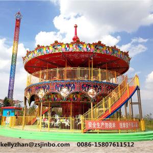 遊園地の乗車68のシートの贅沢な二重層のコンベヤーの馬