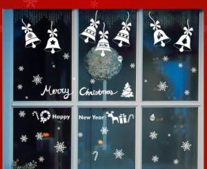 De verwijderbare Sticker van het Venster van de Klok van Kerstmis van pvc Vrolijke voor de Decoratie van de Opslag