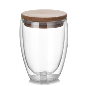 350ml (12oz)二重壁のガラスティーカップのコーヒー・マグ