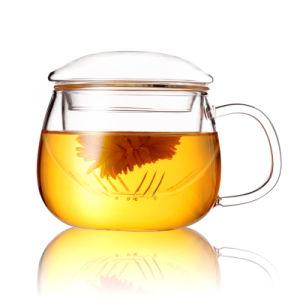 Infsuerの飲むガラスのコップのホウケイ酸塩ガラスのティーカップが付いているハンドメイドのガラスティーカップ