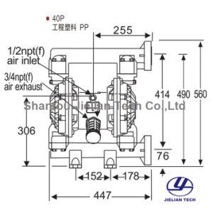 1-1/2 étanche plastiques techniques à deux voies de type pompe à diaphragme pneumatique