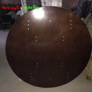 安いブラウンカラー屋外の円形の合板の折る庭のダイニングテーブル