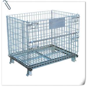 Fodable almacén de estantería de malla de alambre soldado de la jaula de almacenamiento