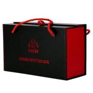 Verpakking van het Huwelijk van het Vakje van de Gift van het Document van de luxe de Houten Vouwbaar met het Magnetische Vakje van de Verpakking van de Gift van het Karton Clousure met Lint