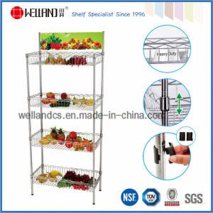 4 niveaux de légumes Panier d'affichage de supermarché rack avec support de publicité