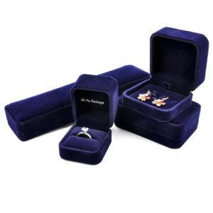 Custom Plástico Cardbaord Navy Blue Velvet Dom Jóias Caixa de Embalagem