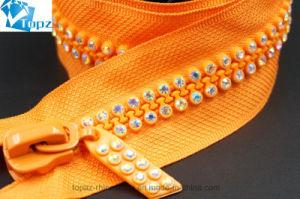 Crystal Estrás 4*61cm Mayorista de cremalleras para chaqueta (Naranja/Crystal AB/ZP-05)