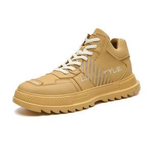 2020 hombres zapatos de deporte superior de la microfibra Zapatillas High Top de encaje hasta estudiante Mens zapatos casual