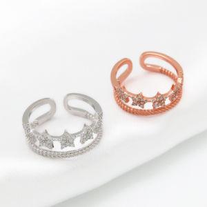 Stern-Form-Frauen-nachgemachte Diamant-Ring-Schmucksachen