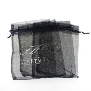 卸し売り黒いオーガンザのドローストリングの好意のギフト袋